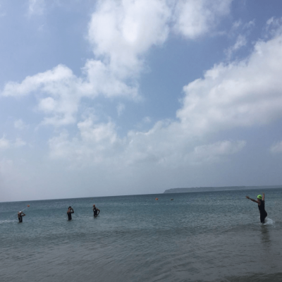 Swim course check: Calm clear waters, jellyfish sighting, Mandy being Mandy. To wetsuit, or not to wetsuit, that is the question!